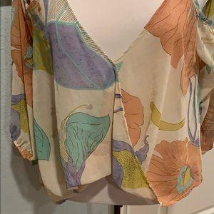 Audrey Cropped Cold Shoulder Blouse • Sz S